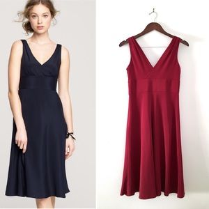 J. Crew Deep Red Sophia Dress in Silk Tricotine